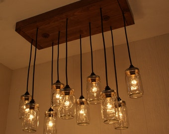 Mason Jar Chandelier - Mason Jar lighting - Refined Alder Wood