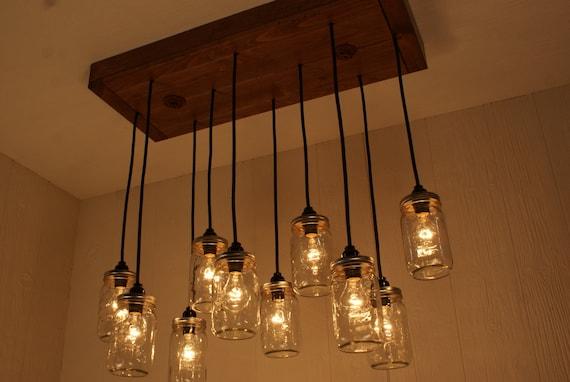 jar chandelier dining room light by bornagainwoodworks