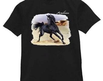 Mens T-shirt / Black Arabian Horse