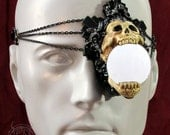 black gilded skull latex monocle with strap