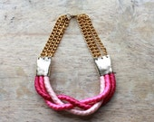 "Ombre braid rope necklace ""Inanna"" /// Strawberry pink - Tzunuum"
