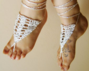 Foot jewelry/ Sequin BAREFOOT sandles barefoot sandal/ bridal barefoot sandals/ white anklet jewelry foot thongs bottomless shoes