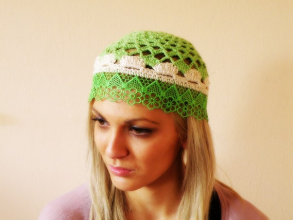 crochet hat summer beanie floral lace knit flapper hat
