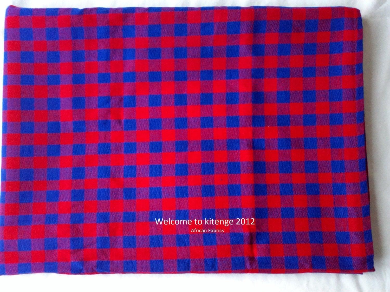 African Fabrics Masai Maasai Shuka Blankets Blue And Red