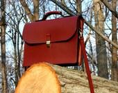Supple Dark Chestnut American Bridle Leather Briefcase / Satchel / Messenger Bag, Antique Brass, Single Compartment