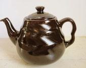 Royal Canadian Art Pottery - Deep Chocolate Brown High Gloss Teapot - Gold Detail on Lid - Glazed Terracotta