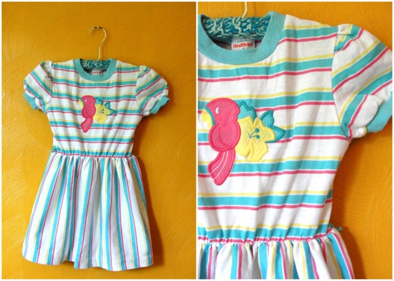 VTG. 80s Health Tex Striped summer dress with parrot and flower. Size 5T.
