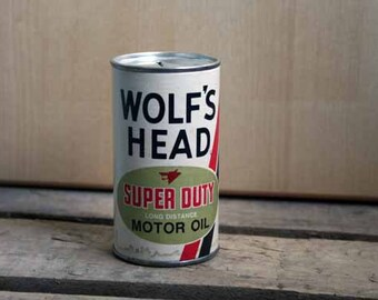 Wolf''s Head Motor Oil Bank, Vintage Automotive Advertising
