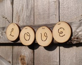 LOVE Garland Sign, Wood Love Sign, All Natural, Word Blessings, Wedding Decoration, Engagement, Valentine's Day