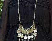 Vtg Antique / Old India Banjara Rajasthan Ethnic tribal gypsy belly dance Silvertone handwoven crescent dangle coin statement necklace