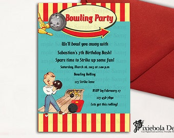 Retro Classic Bowling Birthday Invitation   (Design Fee)