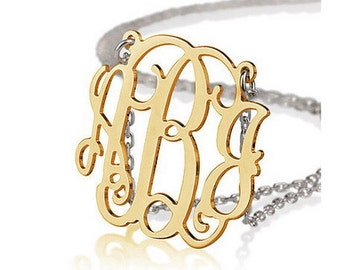 Monogram necklace - 1 inch Monogram - 925 Sterling silver 18k Gold Plated with a Silver Chain