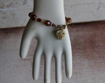 Key To My Heart Bracelet Gold Amber Love Valentines Sweetheart Friendship
