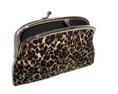 Animal print frame wallet with kiss clasp and 2 compartments- leopard and black fabric