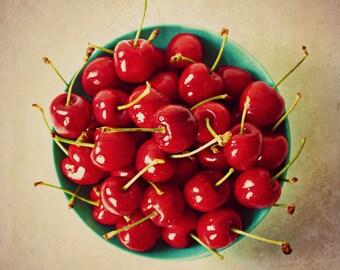 Bowl of Cherries Food Photography Red and Aqua Rustic Kitchen Decor Juicy Fresh Fruit Sweet Art