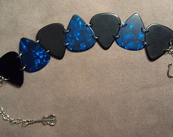 Black & Blue Pearl Genuine Guitar Pick Bracelet With Guitar Charm