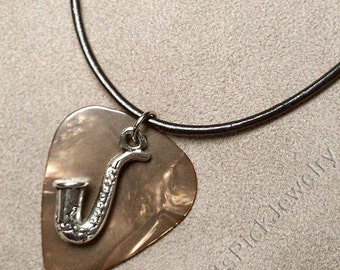 Saxophone/Sax Charm on Genuine Bronze Pearl Guitar Pick Necklace