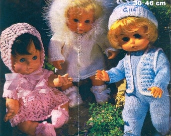 """PDF Vintage Knitting Patterns for Dolls - 12"""" to 18"""" DK and 4 ply"""