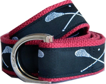 Lacrosse Belt / D-Ring Belt / Canvas Belt/ Preppy Belt/ Men's Belt/ Women's Belt/ Children's Belt/ White Lacrosse on Black with Red Webbing