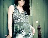 WOLF hoodie DRESS with LEOPARD print