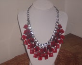 Reserved for Silvie Vintage Red Beaded Bib necklace