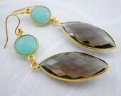 Aqua Blue Gold Dangle Ear...