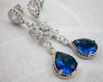 Dazzling Blue Sapphire Blue Cubic Zirconia Dangle Earrings, Sterling Silver Dangles, Wedding Earrings, Bridal Jewelry, Inv 95