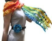 Felted Scarf Shawl Wrap: Hand Painted Rainbow Green Orange Red  Burgundy Yellow Blue Silk, Wool nuno felt. OOAK.