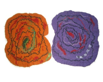 Felted Placemat, set of 2: Wool. Freeform, table sauna pet dog cat mat, orange red blue green purple blue brown