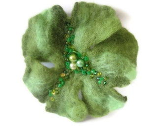Felt wool shamrock pin brooch green Easter St. Patrick's day emerald apple olive lime salad ready to ship seed bead embroidery Easter