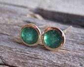 Colombian Emerald Bezel Stud Earrings in 14K Gold
