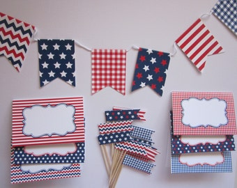 4th of July / Patriotic / Red White and Blue / Memorial Day / Welcome Home / party decoration set
