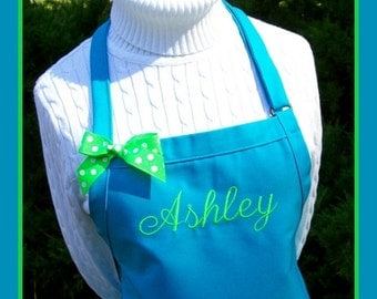 Custom Name Apron - Monogrammed Personalized Chefs Baking Gift Idea Adjustable Purple Hot Pink Orange Yellow Blue wedding bakers