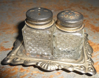 Vintage Salt & Pepper Shakers, Glass, Silver, Tray, Ornate, Small