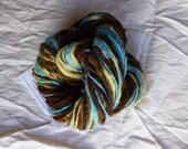 Alpaca wool from an organic farm, and merino handspun 'Beach' hand dyed, T171, 85 yards/ 78 meters