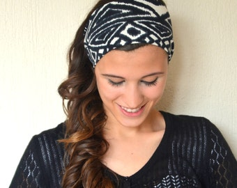 Aztec patterned cotton jersey stretchy headband yoga headband ear warmer women's headband birthday gifts accessory boho headband
