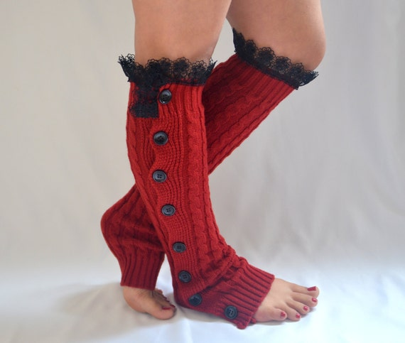 Red Leg Warmers Women/Cable Knit Leg Warmers/Buttons