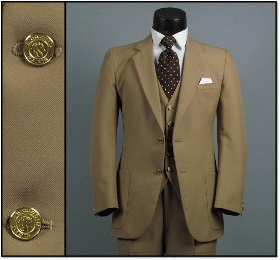 Vintage Mens Suit 1970s Hughes and Hatcher PIERRE CARDIN