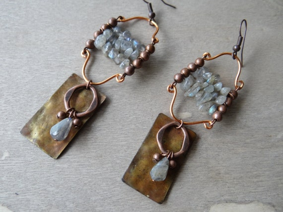 Lyre-Labradorite Chips and Fire Patina Copper Earrings