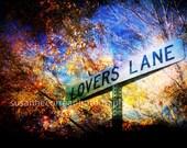 Lovers Lane Street Sign, Trees, orange, Autum, Fall, Las Vegas 12x18