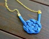 Summer Celtic Nautical Sailor Knot Royal Blue and Gold Statement Necklace