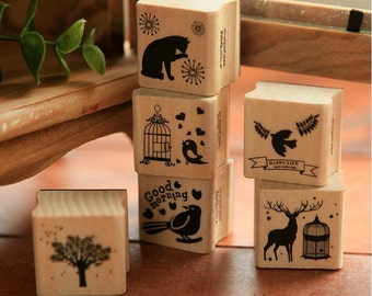 Antique Forest Stamp Set - Wooden Rubber Stamp - Diary Stamp - 6 Piece in