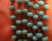 1 foot of GREEN TURQUOISE on Antiqued Copper Beaded Linkage Rosary