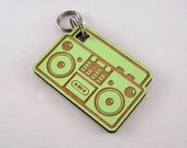 Boombox Pet ID Tag - Painted Laser Cut Wood Dog Tag - Cat Collar Tag