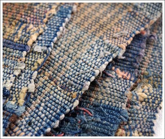 Old Japanese Handmade Cotton Sakiori Rag Weave Textile, Nicely Faded Fragment.....E-Sakiori-401