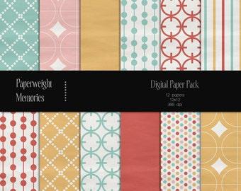 Summer of '69 - Digital Papers - Instant Download - digital scrapbooking - patterned paper - CU ok