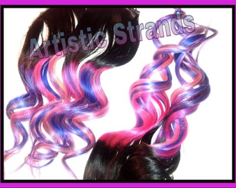 Remy Hair Extensions / double wefted / 1b Color / Pink Purple Blue Ombre / Tye Dye / Full Set / Ready to Ship