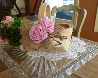 Rustic Flower Girl Basket, Personalized.