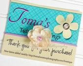 Newborn Flower Headband, Tan, Cream, Purple Skinny Elastic -SHIPS FREE!