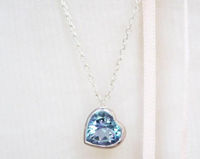 Heart necklace - topaze heart cut - silver 925